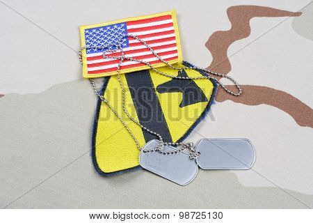 Kiev, Ukraine - May 18, 2015. Us Army 1St Cavalry Division Patch Whith Dog Tags On Desert Uniform