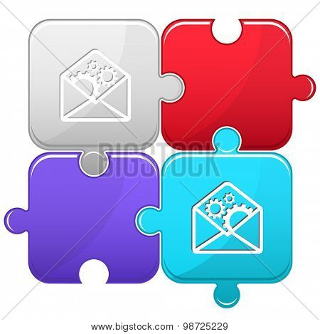 open mail with gears. Vector puzzle.