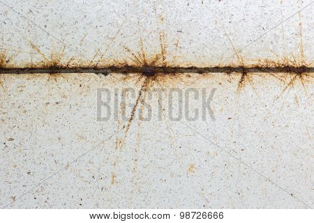 Close Up Rusty On The Steel And Dirty White Terrazzo Floor