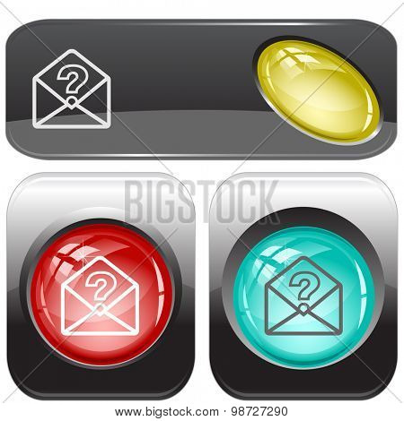 open mail with query sign. Vector internet buttons.
