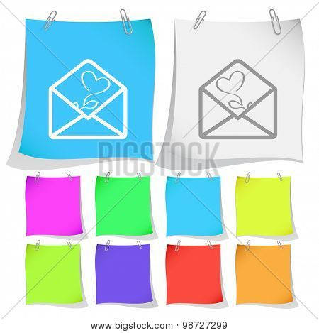 open mail with tulip. Vector note papers.