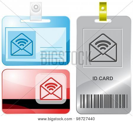 open mail with sound. Vector id cards.