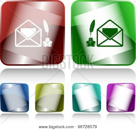 mail with feather and inkstandn . Internet buttons. Vector illustration.