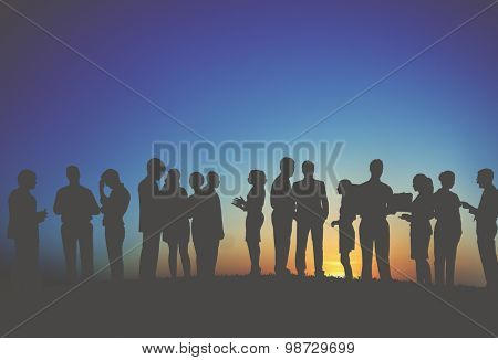 Group Business People Interaction Silhouette Concept