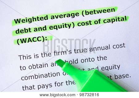 Weighted Average (between Debt And Equity) Cost Of Capital (wacc)