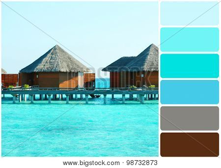 Water villas over ocean background, in resort and palette of colors