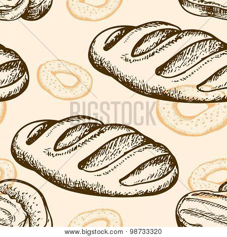 Seamless Pattern With Bagel And Baguette