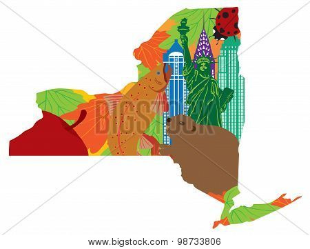 State Of New York Official Map Symbols Vector Illustration