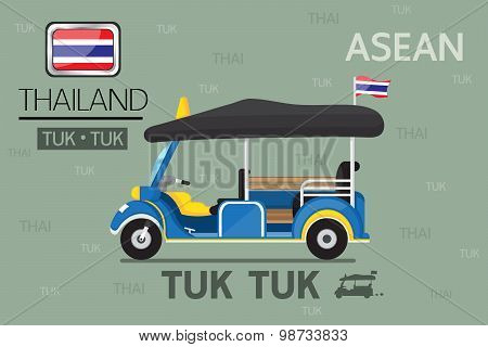 Vector : Cartoon Tuk Tuk in thailand