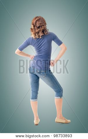 Model of Asian woman, rear view full length portrait isolated on white background.