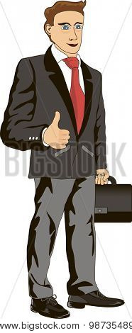 Funny cartoon illustration of a smiling businessman