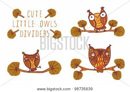 Cute little owls - dividers.