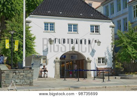 Exterior of the Floyen funicular lower station building in Bergen, Norway.