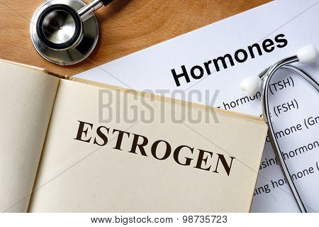 Estrogen word written on the book.