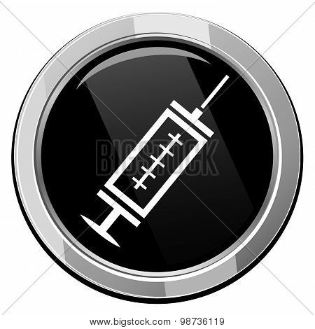 Medical Syringe With Vaccine - Black Vector Icon
