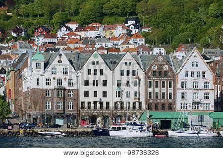 View to the Bryggen area with residential buildings at the background in Bergen, Norway.