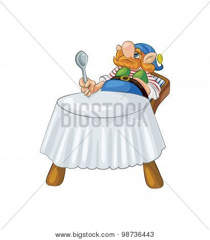 Funny Gnome Sitting At The Table