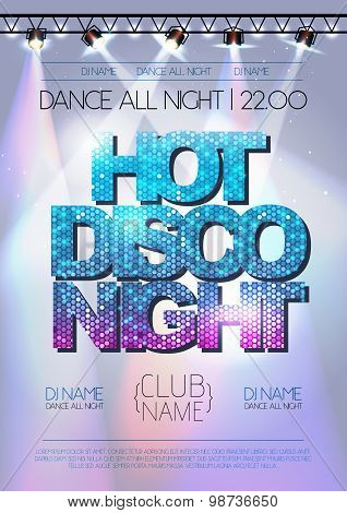Disco Background. Hot Disco Night Poster