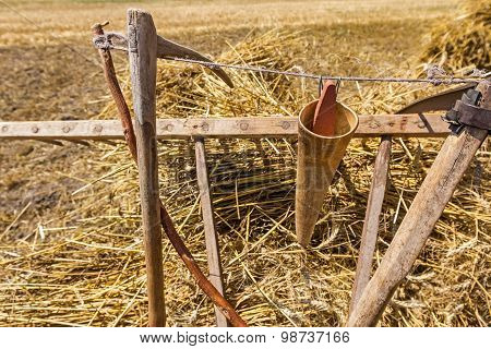 Old Harvest Tool, Scythe And Wooden Rake.