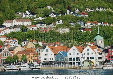 View to the old buildings in Bergen, Norway.