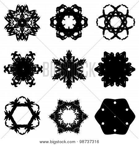 Set of nine hand draw elements for design.