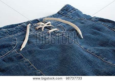 Jeans Skirt With Lacing Close Up