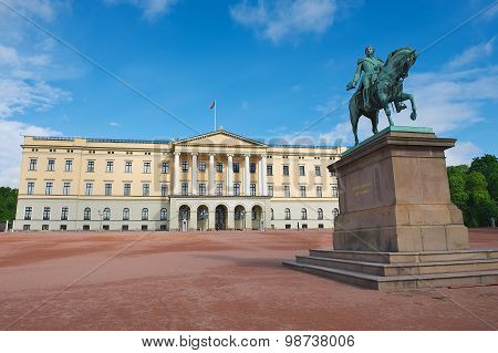 View to the Royal palace with the statue of King Karl Johan at the foreground in Oslo Norway.