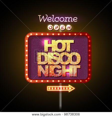 Neon Sign Hot Disco Night