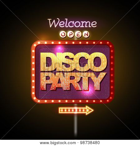 Neon Sign Disco Party Welcome