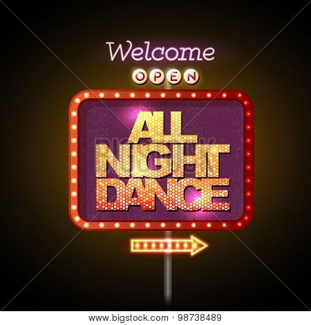 Neon Sign All Night Dance