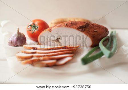 Roast Turkey Breast On Cutting Board