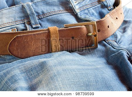 Leather Belt On Jeans Background