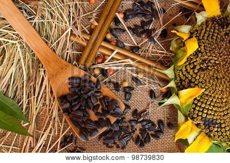 Straw, Seeds , Sunflower Seeds On Burlap