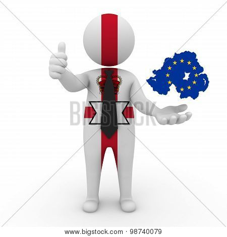 3d small people Northern Ireland - map flag of Northern Ireland and the European Union