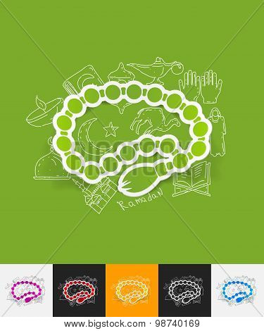rosary paper sticker with hand drawn elements