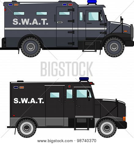 Police cars on white background in a flat style.