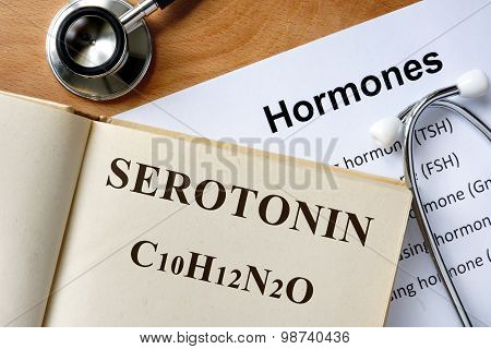 Serotonin word written on the book.