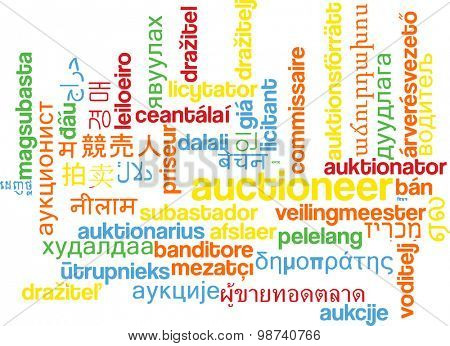 Background concept wordcloud multilanguage international many language illustration of auctioneer