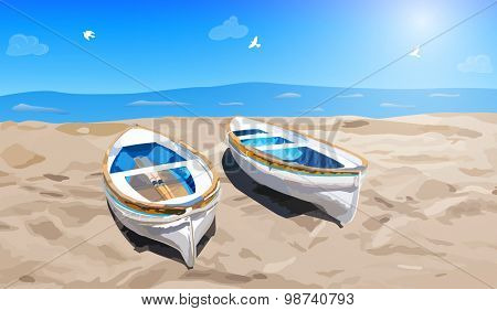Two small boats on sea shore.