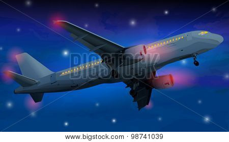 Modern airplane at night on sky background.