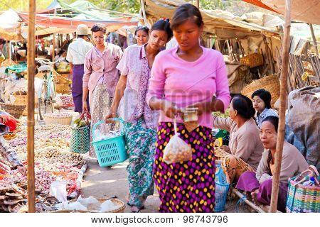 Colorful Open Air Market In Bagan, Myanmar