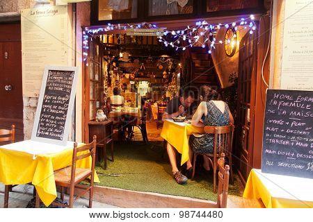 Sidewalk Restaurant In Nice, France