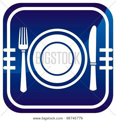 Dish, Fork And Knife. Blue Icon