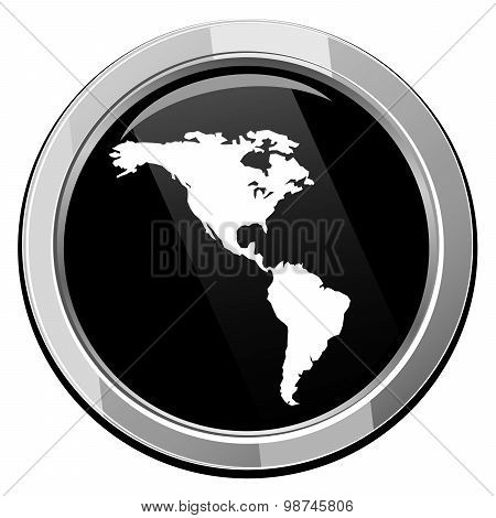 Americas Map Vector Icon