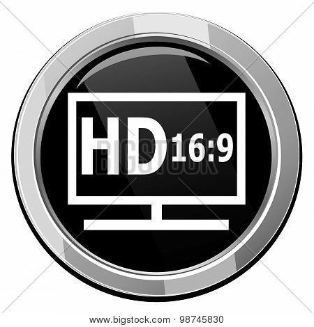 Hd Display Black Icon.