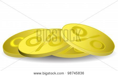 Gold coin with a percent sign