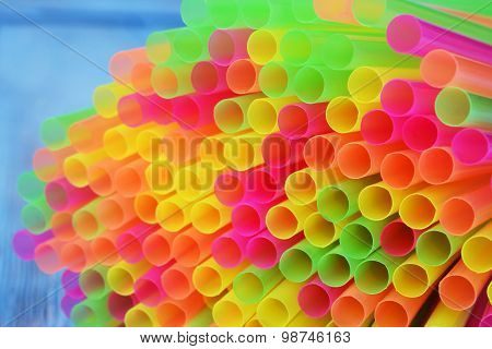 Colorful Drinking Straws Close-up Background.