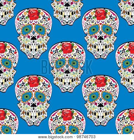 Sugar skull seamless pattern on background