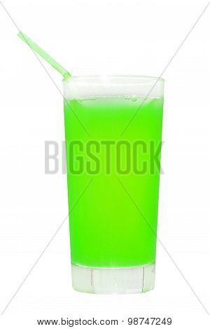 Green Juice Glass.isolated On White.