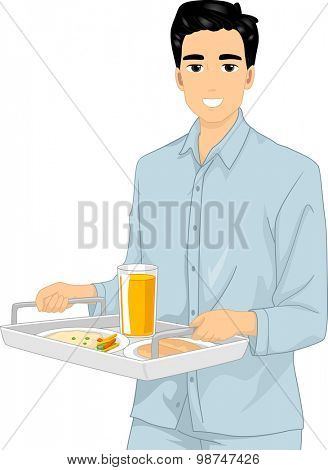 Illustration of a Man in Pajamas Carrying a Breakfast Tray